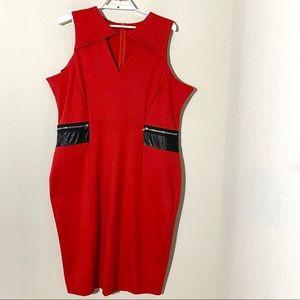 Eloquii Faux Leather Zipper Detail Bodycon Dress